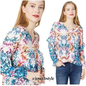 Floral Ruffle-Sleeve Blouse Size S